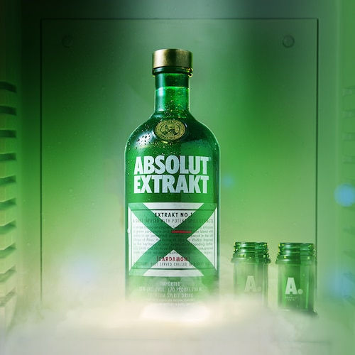 Absolut Extrakt - Bottle and Shots in the Fridge - Product Still.png